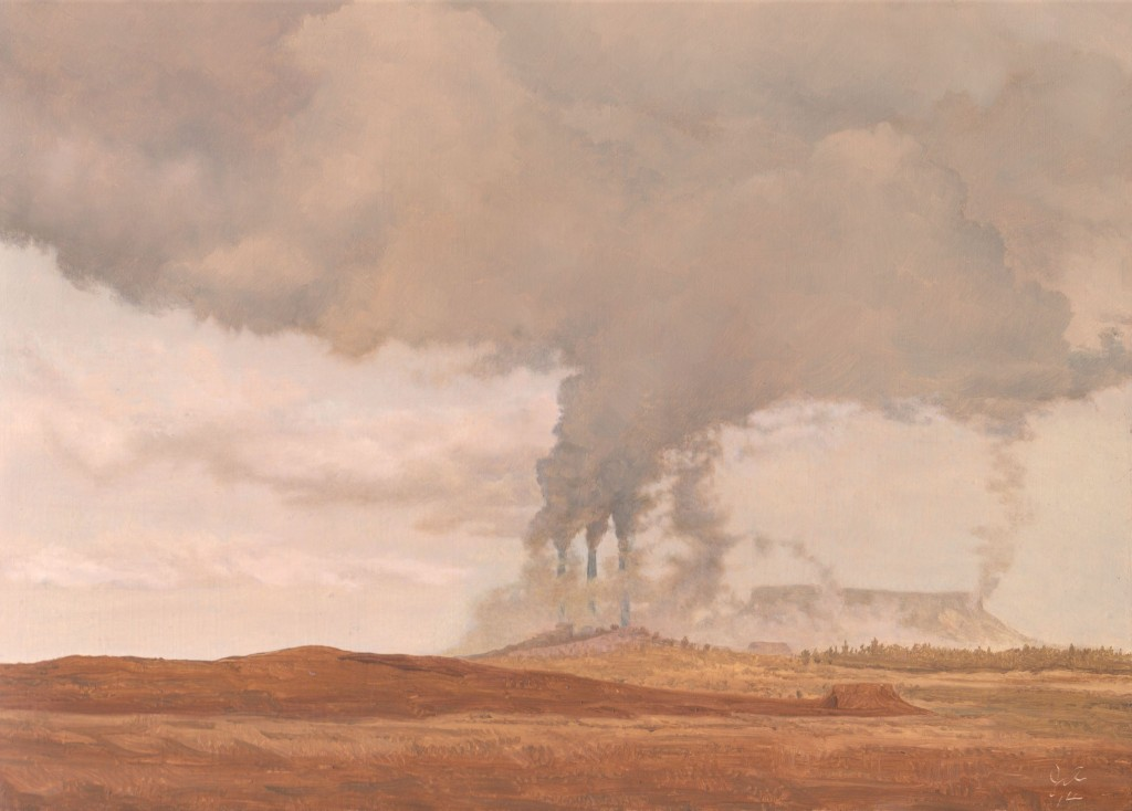 Smoke Signals on the Rez, 2015, oil on board