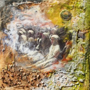 Polish Orphans in Tehran, encaustic: beeswax, pigment oils and photo printed on rice paper, and found objects