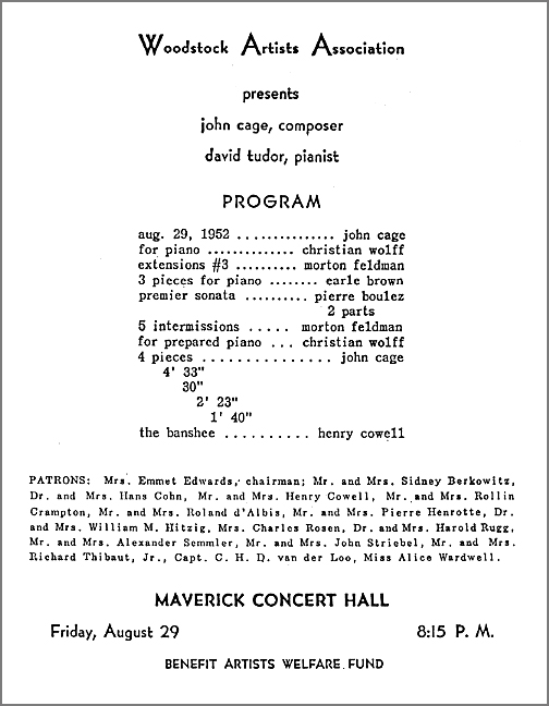 John Cage Concert - Woodstock Artists Association (WAAM