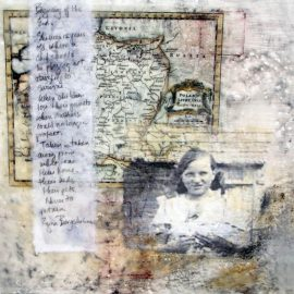 Innocent, Encaustic: Beeswax, Pigment Oils and Photos  printed on Rice Paper